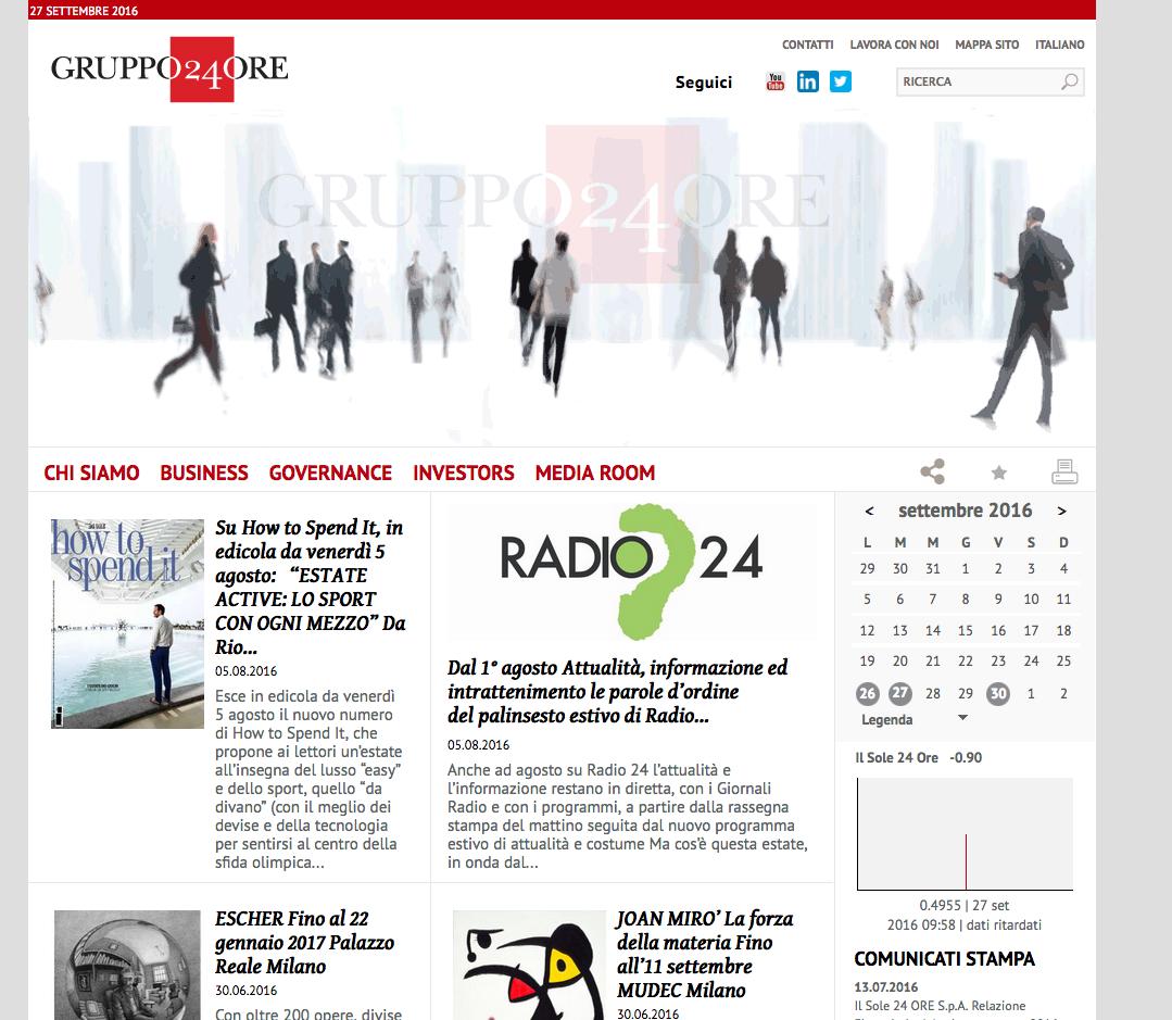 HOME PAGE sito Gruppo 24 ore