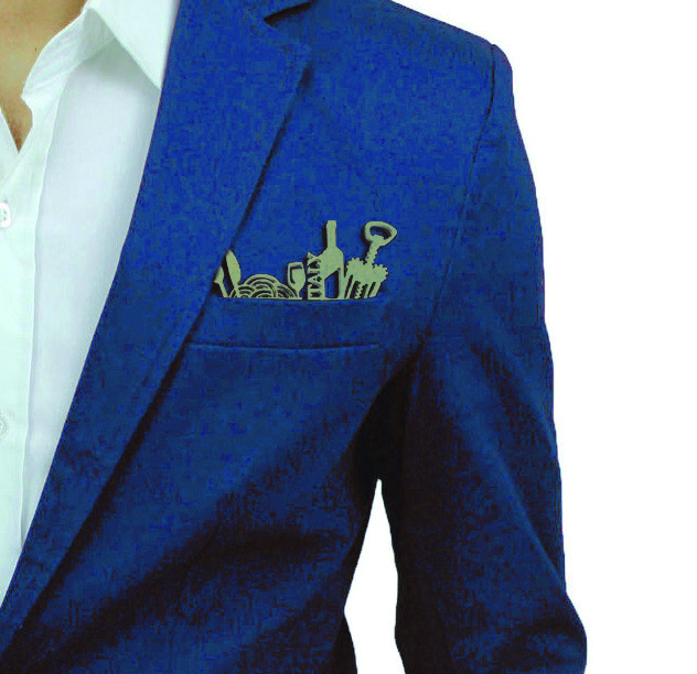 Pochette da giacca indossata